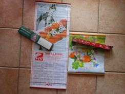 GRAND (77 X 32 Cm)CALENDRIER JAPONAIS 2015 En Bambou- Royal Sushi Mulhouse + 1 Autre De Pharmacie - Tamaño Grande : 2001-...
