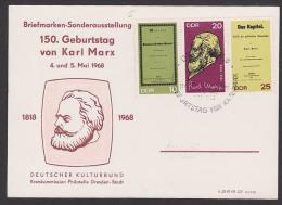 Karl Marx Maximumkarte 1818 - 1968 150. Geburtstag Zusammendruck Dresden Gedenkblatt