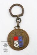 Vintage Collectible French Brass Enamel Key Ring - Augis Probitas Industria - Le Lloyd Continental Français - Roubaix - Llaveros