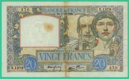 20  Francs - Science Et Travail   -  France - X.1379 370 - DL.17=10=1940.  - TB+  - - 1871-1952 Anciens Francs Circulés Au XXème