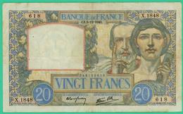 20  Francs - Science Et Travail   -  France - X.1848 618 - CZ.5=12=1940.  - TB+  - - 1871-1952 Antichi Franchi Circolanti Nel XX Secolo