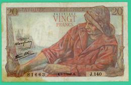 20  Francs - Pêcheur  -  France - N°.J.140 81663 - E.5=7=1945.E. .  - TB  - - 20 F 1942-1950 ''Pêcheur''