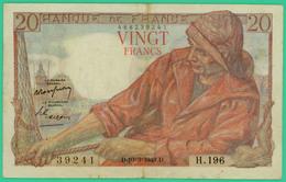 20  Francs - Pêcheur  -  France - N°.H.196 39241 - D.10=3=1949.D.  - TB+  - - 20 F 1942-1950 ''Pêcheur''