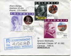 0285 Colombia,  Circuled Registered  Cover  1996,  Petroleum Pioneers,
