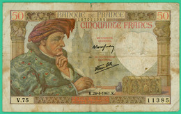 50  Francs - Jacques Coeur  -  France - N°V.75 11385 - K.24=4=1941.K.  - TB  - - 1871-1952 Circulated During XXth