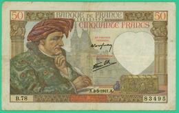 50  Francs - Jacques Coeur  -  France - N°B.78 83495 - A.8-5-1941.A.. - TB+ - - 1871-1952 Circulated During XXth