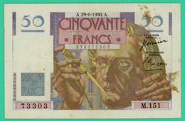 50  Francs - Le Verrier  -  France - N°M.151 73303 - A.29-6-1950.A.. - TB+ - - 1871-1952 Circulated During XXth