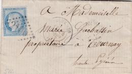 FRANCE :  Cérès 60 Sur LaC  Du 24 03 1873  GC   2100 LOURDES (63)   2 CaD D'arrivée Tournay Au Verso - Poststempel (Briefe)