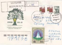 Lithuania Upfranked Postal Stationary Used 1990 - Registered  (G70-62) - Lithuania