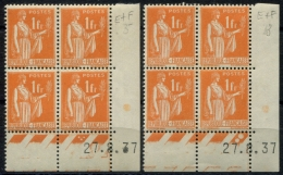 CD012a N°286 Blocs De 4 Coins Datés Neuf **/* TB - France
