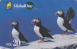 Télécarte Suisse GLOBAL ONE - Animal - OISEAU MACAREUX - PUFFIN BIRD Phonecard - Papageientaucher Vogel - 4267 - Oiseaux