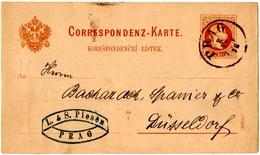 TCHECOSLOVAQUIE. PRAGUE Sur ENTIER.1876. POUR DUSSELDORF ( ALLEMAGNE)