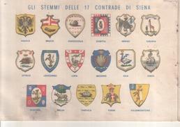 VENDO N.1 CARTONCINO CON I FREGI DELLE 17 CONTRADE DEL PALIO DI SIENA DEL MONTE DEI PASCHI DEL PALIO DEL 2 DI LUGLIO - Siena