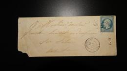 Enveloppe - 20c Bleu Napoléon III Non Dentelé - 1849-1876: Classic Period