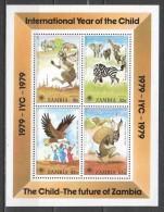 Zambia 1979 Mi Block 5 MNH ANIMALS CHILDREN - Zambia (1965-...)