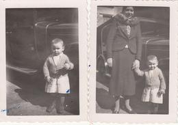 GAILLON YVELINES -2 PHOTOS DE FAMILLE 1937- VOITURE ANCIENNE-dim 9x6,5 Cms - Lieux