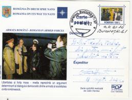 NATO, ROMANIA MEMBERSHIP, OFFICERS, PC STATIONERY, ENTIER POSTAL, 2002, ROMANIA