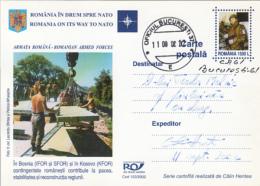 NATO, ROMANIA MEMBERSHIP, SOLDIERS BUILDING A BRIDGE, PC STATIONERY, ENTIER POSTAL, 2002, ROMANIA