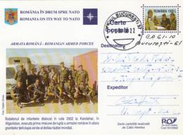 NATO, ROMANIA MEMBERSHIP, SOLDIERS IN KANDAHAR, PC STATIONERY, ENTIER POSTAL, 2002, ROMANIA
