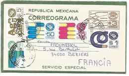 MEXIQUE AFFRANCHISSEMENT COMPOSE SUR AEROGRAMME POUR LA FRANCE 1985 - Mexico