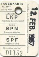 Schweiz - Tageskarte - Luftseilbahn - Skilift - LKP SPM SPF 1967 - Bahn