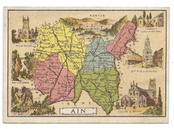Ain Département Carte Géographique Chromo 100 X 68 Mm Ss Pub TB Bourg Eb Bresse Ferney Eglise De Brou Nantua - Trade Cards