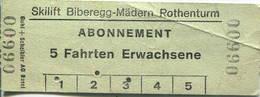 Schweiz - Skilift Biberegg Mädern Rothenturm - Abonnement 5 Fahrten Erwachsene - Bahn