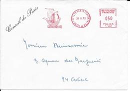 SEINE - PARIS 113 HOTEL DE VILLE  -  EMA  : CONSEIL DE PARIS   1972 - Storia Postale