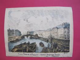 Nantes - Vieux Pont De La Bourse - Quai Duguay Trouin Et Brancas - Gravure Colorisée Par Dinan - Bon état - Recto-verso - Estampes & Gravures