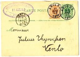 """1882 POSTKAART-5c-45 FIRMASTEMPEL""""THOMAS,GEHR&Co"""" MET COB28 VAN ANVERS NAAR VENLO - 1869-1888 Lion Couché"""