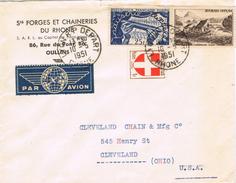 23087. Carta Aerea LYON /Rhone) 1951. Depart A USA - France