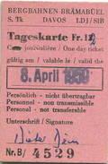 Schweiz - Bergbahnen Brämabüel Davos - Tageskarte 1959 - Bahn