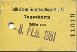 Schweiz - Luftseilbahn Emmetten-Stockhütte AG - Tageskarte 1981 - Bahn