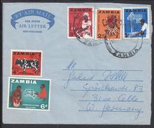 ZAMBIA - 1966 - Lettre Aérogramme De NDOLA à Destination De CELLE West Germany - B/TB - 3 Scans - - Zambie (1965-...)