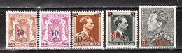 568/72**  Timbres De 1936-40 Surchargés - Série Complète - MNH** - COB 2 - Vendu à 12.50% Du COB!!!! - Belgique