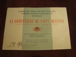 Carte De Visite LA COTONNIERE DE SAINT-QUENTIN - Visitekaartjes