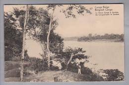 AK Afrika Kongo (belg.) 1914-04-04 Kinshasa GS 5 Cent #57 Le Fleuve Congo à Sendwe (Klebestelle+Bug) - Congo Belge - Autres
