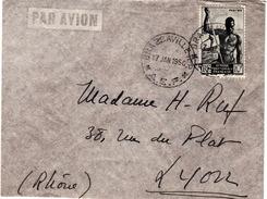 A.E.F - LETTRE PAR AVION BRAZZAVILLE  POUR LYON 17 JAN 1950 - Brieven En Documenten