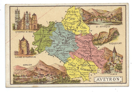 Aveyron Département Carte Géographique Chromo 100 X 68 Mm Ss Pub TB Rodez Roquefort Millau Villefranche Espalion Aubin - Chromos