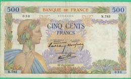 500 Francs  La Paix - France - N°N.783 030 - BP.25-7-1940.BP.. - TB+ - - 1871-1952 Gedurende De XXste In Omloop