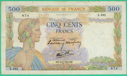 500 Francs  La Paix - France - N° Z.492 874 - BM.20-6-1940.BM. - TB+ - - 1871-1952 Gedurende De XXste In Omloop