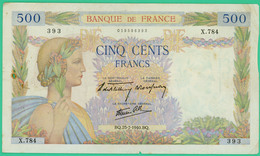 500 Francs  La Paix - France - N° X.784 393 - BQ.25-7-1940.BQ. - TB+ - - 1871-1952 Gedurende De XXste In Omloop