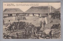 AK Afrika Kongo (belg.) 1913-04-07 Kinshasa GS 5 Cent #32 Noirs Réunissant Du Bois (Klebestelle) - Congo Belge - Autres