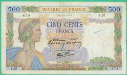 500 Francs  La Paix - France - N° Y.57 679 - CJ.4-1-1940.CJ. - TTB - - 1871-1952 Gedurende De XXste In Omloop