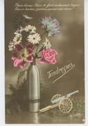 """GUERRE 1914-18 - Jolie Carte Fantaisie Fleurs Obus Et Canon """"Tendresses """" - Guerre 1914-18"""