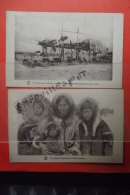 Cp  Lot 2 Cartes Une Famille Chretienne De L'ocean Arctique + Attelage Du Missionnaire De Mary's Igloo - Monde