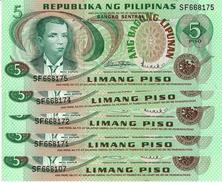 PHILIPPINES 5 PESOS ND (1978) P-160a UNC 5 PCS [PH1019a] - Philippines