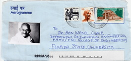 INDE - AEROGRAMME REQUEST FOR APPLICATION MATERIAL + PHOTO MAHATMA GANDHI - TO FLORIDA STATE UNIVERSITY