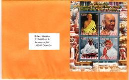 COVER BLOC MAHATMA GANDHI - 60TH ANNIVERSARY OF DEATH MALAWI TO CANADA