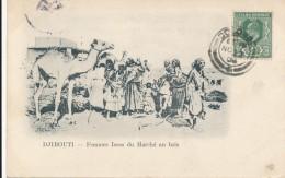 CPA DJIBOUTI Précurseur 1904 Femmes Issas Du Marché Au Bois + Cachet + Timbre Ceylan Sri Lanka - Gibuti